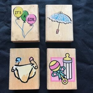👶🏼 Baby themed Wood Rubber Stamps